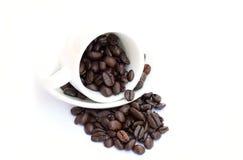 Chicchi di caffè in tazza di caffè Fotografie Stock