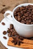 Chicchi di caffè in tazza di caffè Fine in su Fotografie Stock