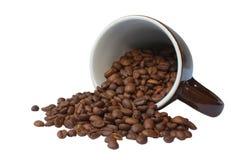 Chicchi di caffè, tazza di ceramica Immagini Stock