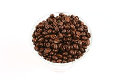 Chicchi di caffè in tazza di vetro Immagine Stock Libera da Diritti