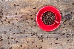 Chicchi di caffè in tazza rossa Immagini Stock Libere da Diritti