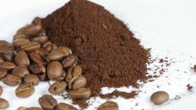 Chicchi di caffè a terra video d archivio