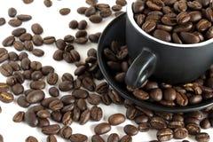 Chicchi di caffè in una piccola tazza fotografia stock libera da diritti