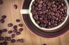 Chicchi di caffè in una tazza Immagine Stock Libera da Diritti