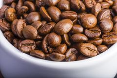 Chicchi di caffè in una tazza bianca su un fondo di legno scuro Fotografia Stock Libera da Diritti