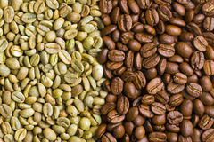 Chicchi di caffè verdi ed arrostiti Fotografia Stock Libera da Diritti