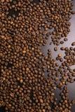 Chicchi di caff? arrostiti all'ingrosso su un fondo nero immagine stock