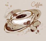 Chicchi di caff? dei kofs dell'iscrizione e una tazza di caff? royalty illustrazione gratis