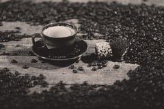 Chicchi di caffè e un certo dessert Immagine Stock