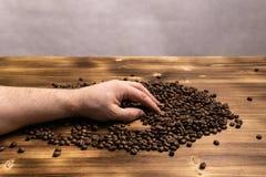 Chicchi di caff? in mani su fondo di legno immagine stock libera da diritti