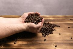 Chicchi di caff? in mani su fondo di legno fotografie stock libere da diritti