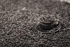 Chicchi di caffè in una tazza di caffè Immagini Stock