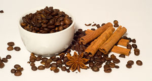 Chicchi e cannella di caffè Immagine Stock Libera da Diritti