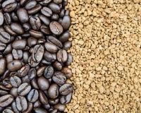 Chicchi ed istante di caffè Fotografia Stock Libera da Diritti
