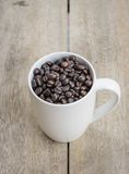 Chicco di caffè con la tazza Immagine Stock