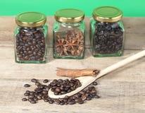 Chicco di caffè con la vista del barattolo e del Heab del caffè Fotografia Stock Libera da Diritti