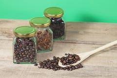 Chicco di caffè con la vista del barattolo e del Heab del caffè Immagine Stock Libera da Diritti