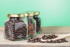 Chicco di caffè con la vista del barattolo e del Heab del caffè Fotografie Stock Libere da Diritti