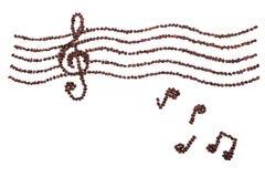 Chicco di caffè nella musica di armonia Fotografia Stock Libera da Diritti