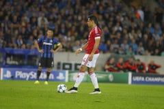 Chicharito-Meister-Liga FC Brügge - Manchester United Stockfotografie