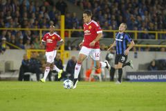 Chicharito mistrza liga FC Bruges, Manchester United - Obraz Royalty Free
