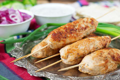 Chiche-kebab de poulet avec les légumes, la sauce et le pain pita Photographie stock