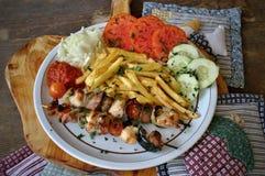 Chiche-kebab de poulet et de porc Images stock