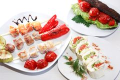 Chiche-kebab de poulet de plat Images libres de droits