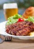 Chiche-kebab et bière Image stock