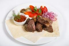 Chiche-kebab grillé d'agneau Photographie stock