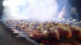 Chiche-kebab grillé faisant cuire sur la fin de brochette en métal  Viande rôtie cuite au barbecue Gril sur le charbon de bois et clips vidéos