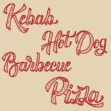Chiche-kebab, hot-dog, pizza, barbecue Ensemble de lettrage tiré par la main Photo libre de droits