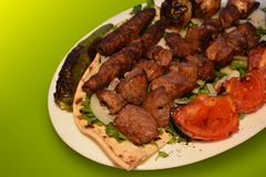 Chiche-kebab, photographie de barbecue de boeuf, photo de menu de restaurant photographie stock
