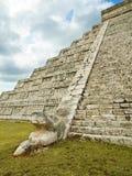 chichen оперенный смей пирамидки itza kukulkan стоковые фотографии rf