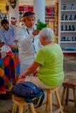 CHICHEN ITZA, МЕКСИКА - 12-ОЕ НОЯБРЯ 2017: Крытый взгляд индийского chaman используя заводы для того чтобы вылечить больных внутр Стоковое Изображение RF