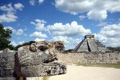 Chichen itza. Great pyramid in Chichen Itza with head of the giant serpent Royalty Free Stock Photo