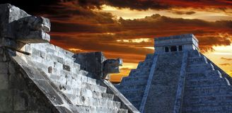 Chichen itza. At chichen itza, mexico, a view of kukulkan pyramid from the platform of venus Stock Photo