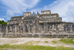 Chichen Itza. Colonnade at Temple of 1000 warriors. Chichen Itza temple complex in Cancun, Yucatan area of Mexico. Panoramic view Royalty Free Stock Photo