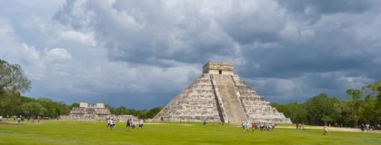 Chichen Itza. Main Mayan temple. Chichen Itza temple in Cancun, Yucatan area of Mexico. A wide angle view of the central complex Stock Images