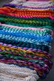 Chichen itza colorful hammocks in Mexico stock image