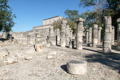 Chichen Itza, Columns in the Temple of a Thousand Warriors Royalty Free Stock Photo