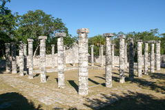 Chichen Itza, Columns in the Temple of a Thousand Warriors Stock Photography