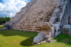 Chichen Itza detail Mayan pyramid in Yucatan Stock Photography