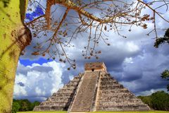 Chichen Itza dramatic sky in Mexico Royalty Free Stock Photos