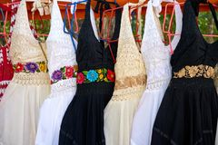 Chichen itza embroided dresses Mexico. Chichen itza embroided dresses in outdoor shop Mexico Yucatan royalty free stock photos