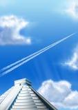 Chichen Itza en grote hemel Stock Afbeeldingen