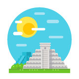 Chichen Itza flat design landmark Stock Photography