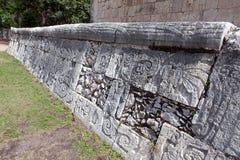 Chichen Itza. Fragment einer Wand einer Pyramide Stockbild