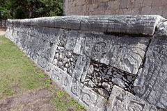 Chichen Itza . Fragment of a wall of a pyramid Stock Image