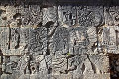 Chichen Itza hieroglyphics mayan ball court Stock Photography